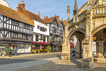 View of Poultry Cross and Minster Street, Salisbury, Wiltshire, England, United Kingdom, Europe