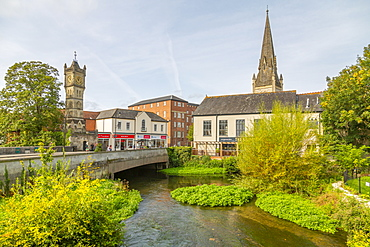 View of River Avon and ornate clock tower on Fisherton's Street, Salisbury, Wiltshire, England, United Kingdom, Europe