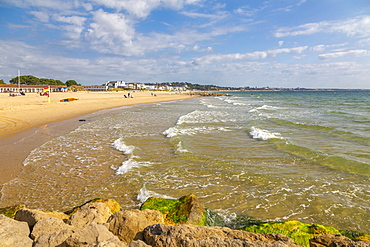 View of Sandbanks Beach in Poole Bay, Poole, Dorset, England, United Kingdom, Europe