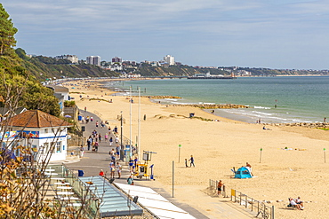 View of Banksome Beach in Banksome, Bournemouth, Dorset, England, United Kingdom, Europe