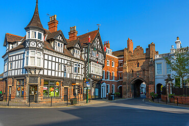 View of North Bar, the city gate and ornate architecture, Beverley, North Humberside, East Yorkshire, England, United Kingdom, Europe