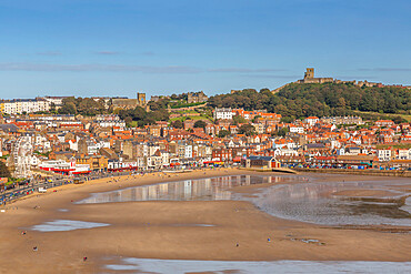 View of South Bay and Scarborough, Scarborough, North Yorkshire, Yorkshire, England, United Kingdom, Europe