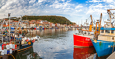 View of old harbour below Castle Hill, Scarborough, North Yorkshire, Yorkshire, England, United Kingdom, Europe