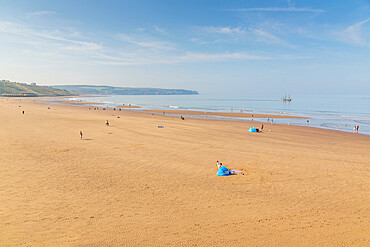 View of Whitby Beach on a sunny day, Whitby, Yorkshire, England, United Kingdom, Europe