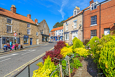 View of cafe and gardens on Smiddy Hill, Pickering, North Yorkshire, England, United Kingdom, Europe