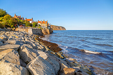 View of rocks and North Yorkshire coastline, Robin Hood's Bay, North Yorkshire, England, United Kingdom, Europe
