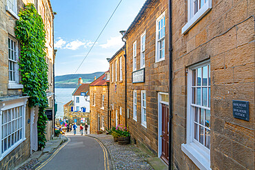 View of old coast guard station from King Street in Robin Hood's Bay, North Yorkshire, England, United Kingdom, Europe
