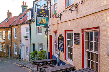 View of traditional inn on King Street in Robin Hood's Bay, North Yorkshire, England, United Kingdom, Europe