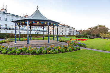 View of Crescent Gardens Bandstand at dusk, Filey, North Yorkshire, England, United Kingdom, Europe