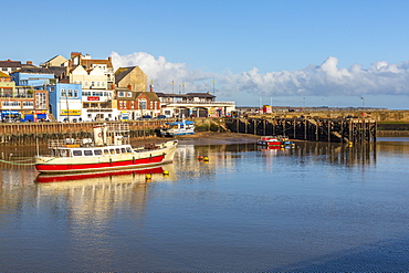 View of boats in Bridlington Harbour, Bridlington, North Yorkshire, England, United Kingdom, Europe