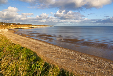 View of Flamborough Head from North Beach shoreline, Bridlington, North Yorkshire, England, United Kingdom, Europe