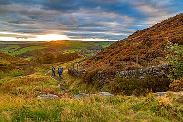 View of sunset from Baslow Edge, Derbyshire Peak District, England, United Kingdom, Europe