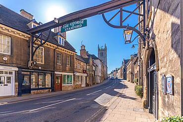 View of High Street and St Martin's Church, Stamford, South Kesteven, Lincolnshire, England, United Kingdom, Europe