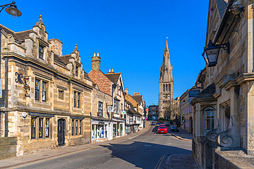 View of High Street and All Saints Church, Stamford, South Kesteven, Lincolnshire, England, United Kingdom, Europe