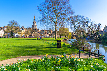 View of Welland River and All Saints Church from the Town Meadows, Stamford, South Kesteven, Lincolnshire, England, United Kingdom, Europe