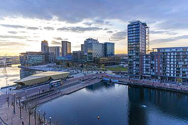 View of MediaCity UK at sunset, Salford Quays, Manchester, England, United Kingdom, Europe - 844-23634