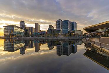 View of MediaCity UK at sunset, Salford Quays, Manchester, England, United Kingdom, Europe - 844-23635