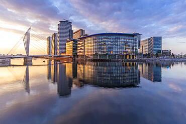 View of pedestrian bridge and MediaCity UK, Salford Quays, Manchester, England, United Kingdom, Europe - 844-23636