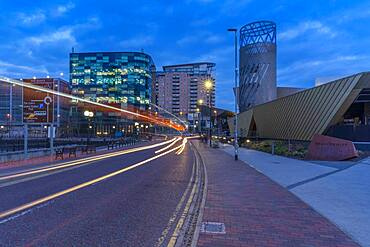 View of The Lowry Theatre at MediaCity UK at dusk, Salford Quays, Manchester, England, United Kingdom, Europe - 844-23638