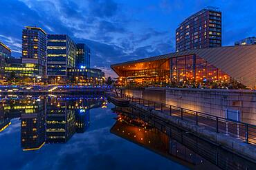 View of MediaCity UK and restaurant at dusk, Salford Quays, Manchester, England, United Kingdom, Europe - 844-23639