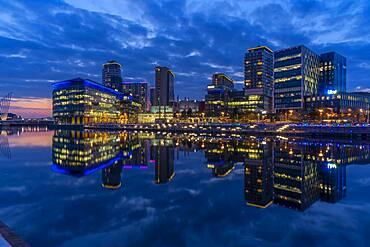 View of MediaCity UK at dusk, Salford Quays, Manchester, England, United Kingdom, Europe - 844-23640