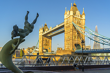 View of Tower Bridge and 'Girl with a Dolphin' statue, London, England, United Kingdom, Europe - 844-23662