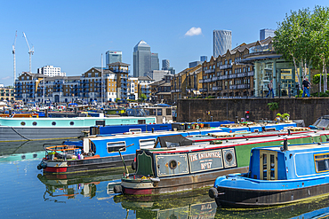 View of canal boats in the marina at the Limehouse Basin and Canary Wharf in background, Limehouse, London, England, United Kingdom, Europe - 844-23665