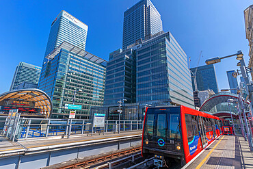 View of DLR train in Canary Wharf, Docklands, London, England, United Kingdom, Europe
