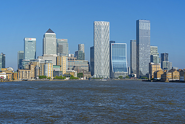 View of Canary Wharf tall buildings from the Thames Path, London, England, United Kingdom, Europe
