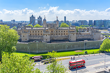 View of the Tower of London and Tower Bridge from elevated position, London, England, United Kingdom, Europe
