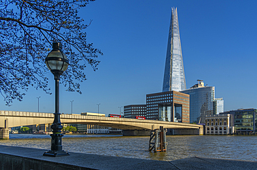 View of The Shard, London Bridge and river Thames from the Thames Path, London, England, United Kingdom, Europe