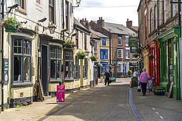 View of shopping street in Knareborough town centre, Knaresborough, North Yorkshire, England, United Kingdom, Europe