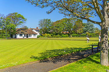 View of Beach House Park bowling green, Worthing, Sussex, England, United Kingdom, Europe
