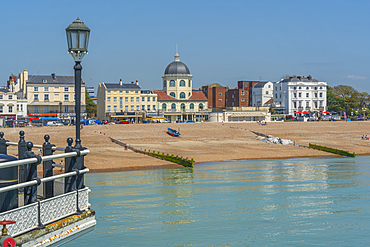 View of beach front houses and Worthing Beach from the pier, Worthing, Sussex, England, United Kingdom, Europe