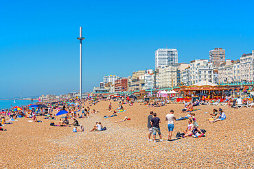 View of West Beach sea front and British Airways' i360 viewing tower, Brighton, East Sussex, England, United Kingdom, Europe