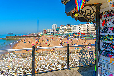 View of beach on a sunny day from Brighton Palace Pier, Brighton, East Sussex, England, United Kingdom, Europe