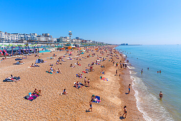View of Brighton sea front on a sunny day from Brighton Palace Pier, Brighton, East Sussex, England, United Kingdom, Europe