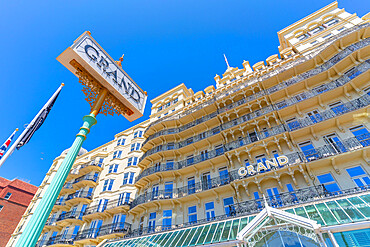 View of the facade of the Grand Hotel on a sunny day, Brighton, East Sussex, England, United Kingdom, Europe
