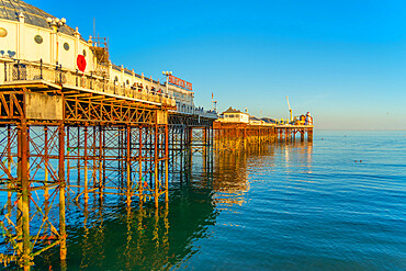 View of Brighton Palace Pier in late afternoon sunshine, Brighton, East Sussex, England, United Kingdom, Europe