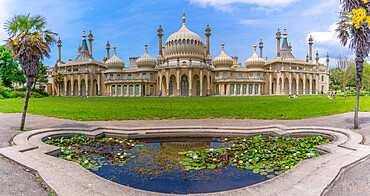 View of Brighton Pavilion and the lily pond in high summer, Brighton, Sussex, England, United Kingdom, Europe