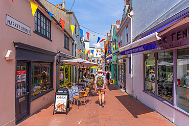 View of cafes and shops in colourful Brighton Place, Brighton, Sussex, England, United Kingdom, Europe