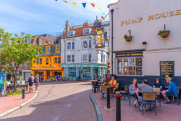 View of restaurants and bars in colourful Brighton Place, Brighton, Sussex, England, United Kingdom, Europe