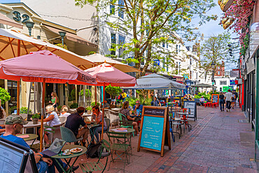 View of restaurants and cafes in The Lanes, Brighton, Sussex, England, United Kingdom, Europe