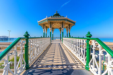 View of ornate bandstand on sea front, Brighton, East Sussex, England, United Kingdom, Europe