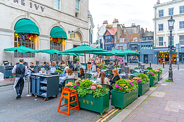 View of The Ivy Restaurant, Alfresco dining in The Lanes at dusk, Brighton, Sussex, England, United Kingdom, Europe
