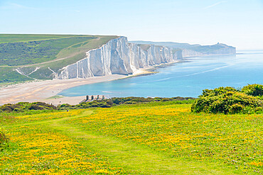 View of Seven Sisters Chalk Cliffs and Coastguard Cottages at Cuckmere Haven, South Downs National Park, East Sussex, England, United Kingdom, Europe