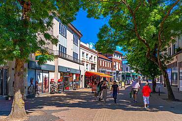 View of shops and cafes in Eastbourne town centre, Eastbourne, East Sussex, England, United Kingdom, Europe