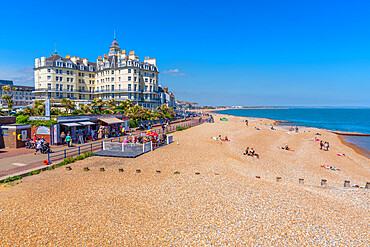 View of beach and sea front hotels from Eastbourne pier in summer time, Eastbourne, East Sussex, England, United Kingdom, Europe