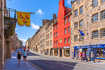 View of shops on the Golden Mile, Canongate, Edinburgh, Scotland, United Kingdom, Europe