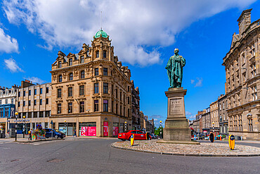 View of William Pitt The Younger statue on George Street, Edinburgh, Scotland, United Kingdom, Europe